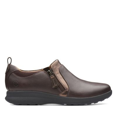 bf21a733b5f Un Adorn Zip. Womens Shoes. Dark Brown Combi