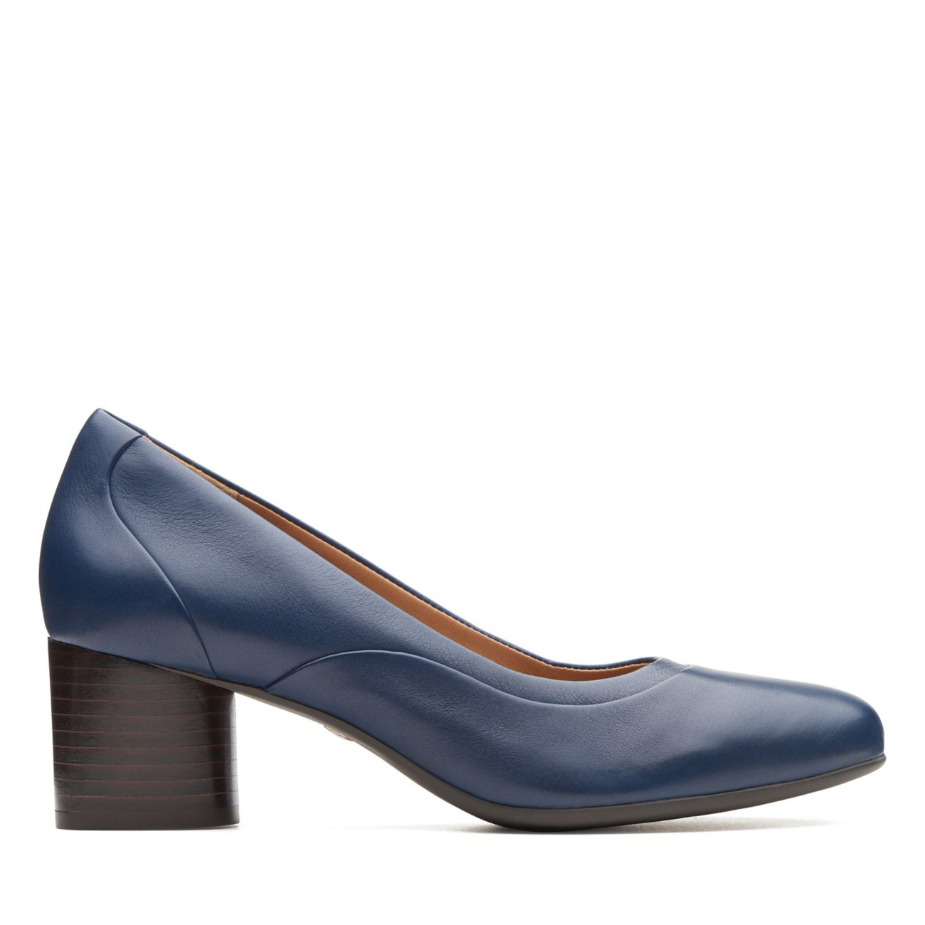 CLARKS Un Cosmo Step Womens Pumps Navy Leather 7