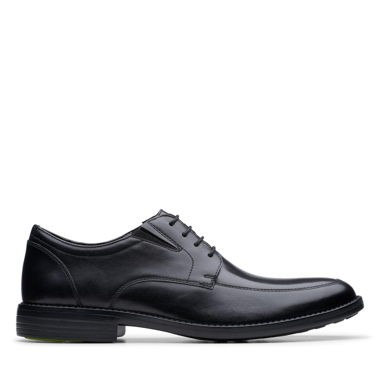 Birkett Apron Black Leather- Mens Dress Shoes-Clarks® Shoes Official Site     Clarks