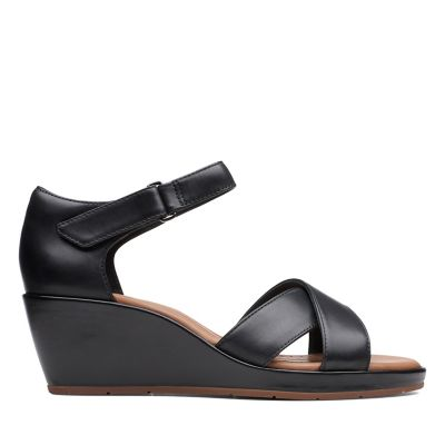 3365e1215207 Un Plaza Cross. Womens Sandals. Black Leather