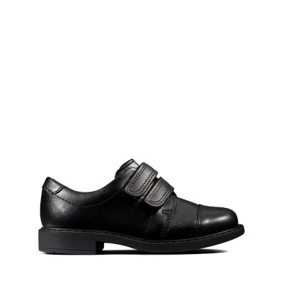 Clarks Scala Skye Toddler Black Leather Boys School Shoes