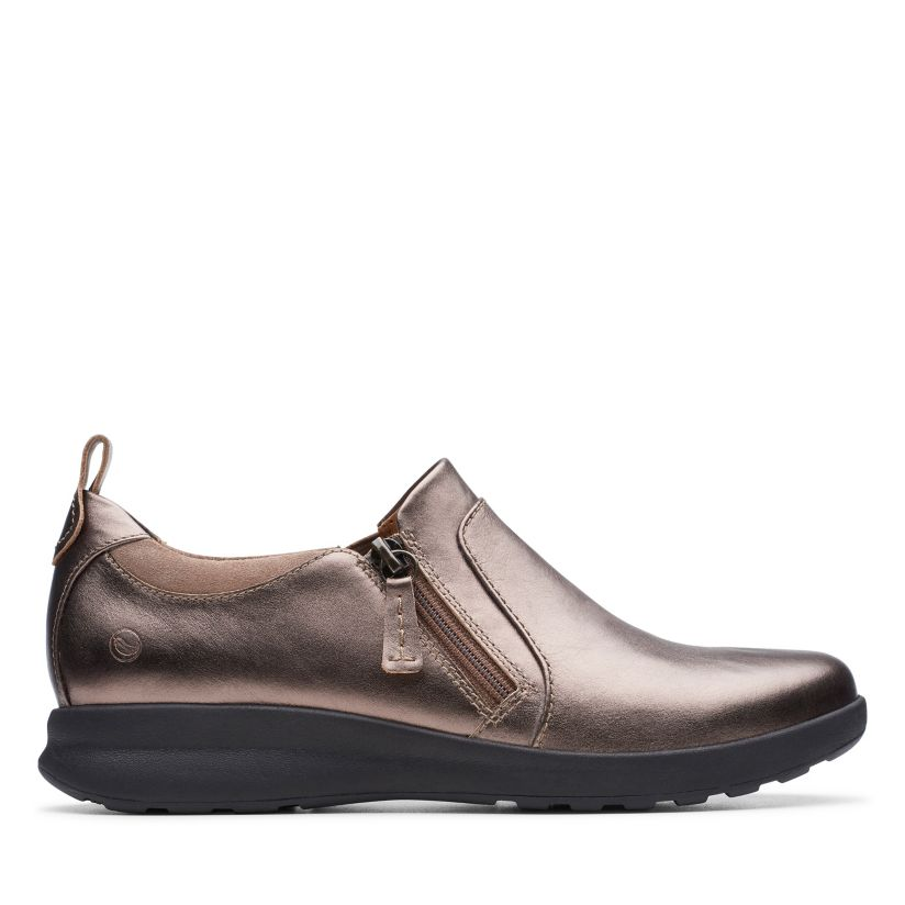 Abolladura Nota Optimista  Un Adorn Zip Pebble Metalic | Clarks