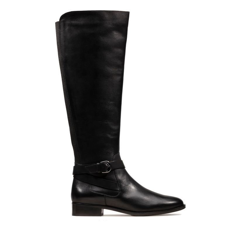 Wide Fit Black Elasticated Back High Leg Boots Add to Saved Items Remove from Saved Items