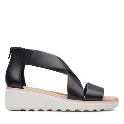 Clarks Stasha Laser Cut Leather Wedge Sandals Standard Fit Sand UK 7 Width D