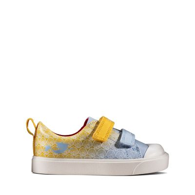 CITY SPARK T CLARKS GIRLS//BOYS T BAR CANVAS TEAL OR YELLOW COMBI