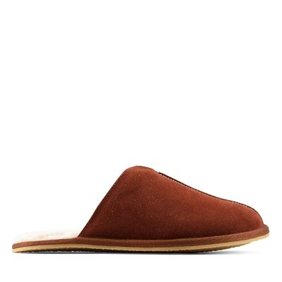 NEW CLARKS HARSTON  Mens Leather Suede SLIPPERS HOUSE SHOES Mule Carpet Black