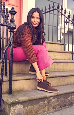 Freida Pinto wearing Desert Boots