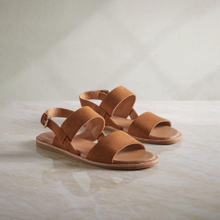 Shop womens sandals- karsea strap tan suede
