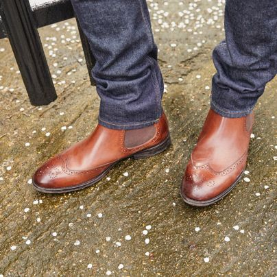 Close-up shot of Ronnie Top brogue Chelsea boots in British tan Leather