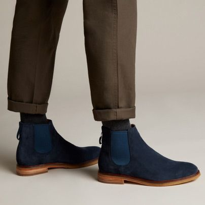 Close-up shot of Clarkdale Gobi Chelsea boots in navy suede