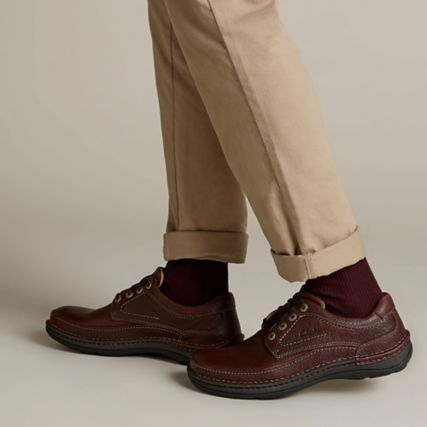 Clarks Nature Three Mahogany Leather shoes
