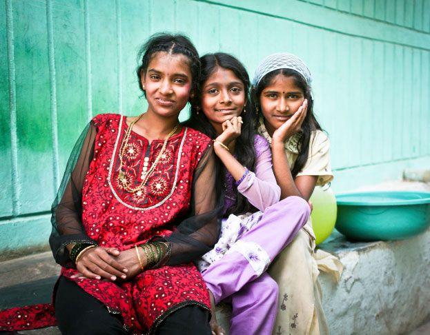 Portrait de trois petites filles