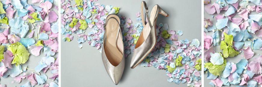 Clarks Laina 55 Sling Heels in Stone Metallic Leather
