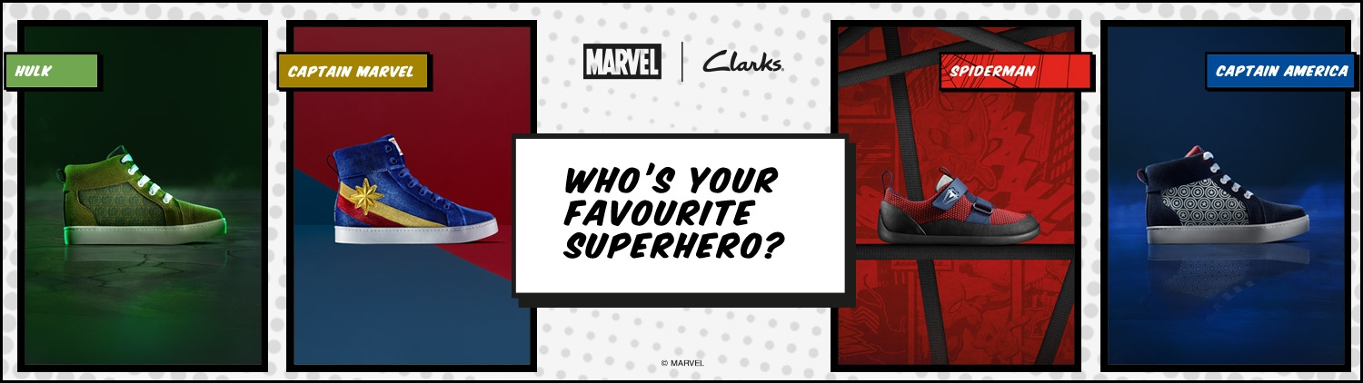 a46b2e1f4b3a3 Marvel X Clarks Collaboration | Kids Avengers Shoes | Clarks