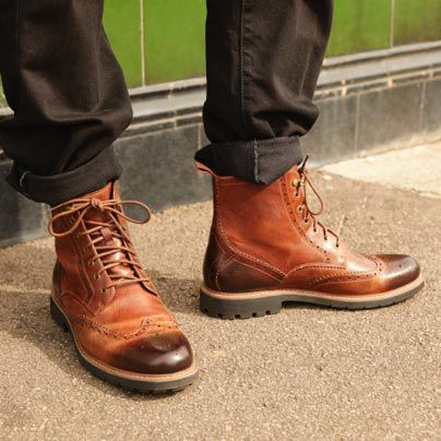 Men's Batcome Lord brogue boots in dark tan leather