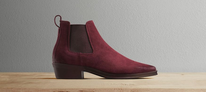 A single red Chelsea boot