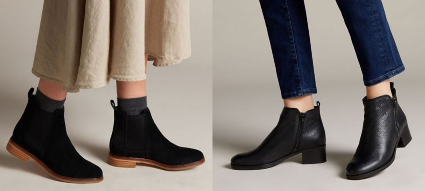 Two pairs of black Chelsea boots