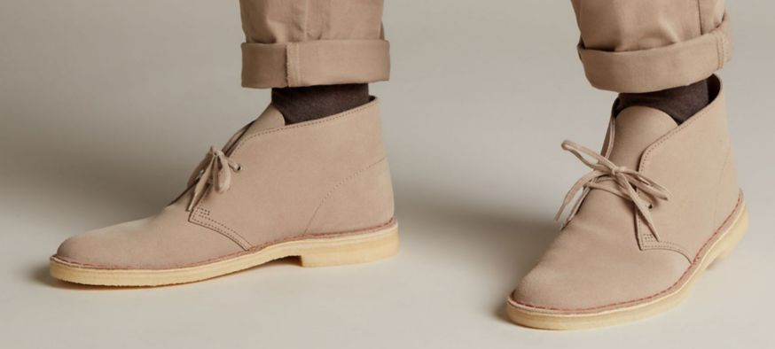 Tan Desert Boots on feet