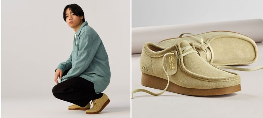 Clarks Wallabees in Sand Suede
