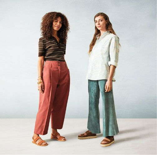 Two female models wearing clarks summer sandals