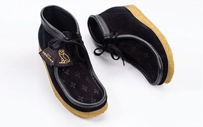 Black OVO embossed Wallabee Boot