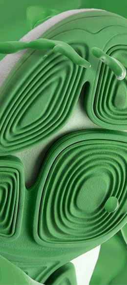 Green Trigenic Evo sole mixed with green painting