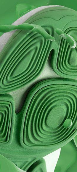 Suela verde Trigenic Evo mezclada con pintura verde.