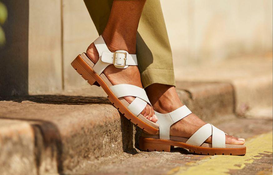 Woman Wearing Tan Sandals