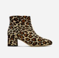 Profile shot of a leopard print ankle boot, with a 5.5cm block heel