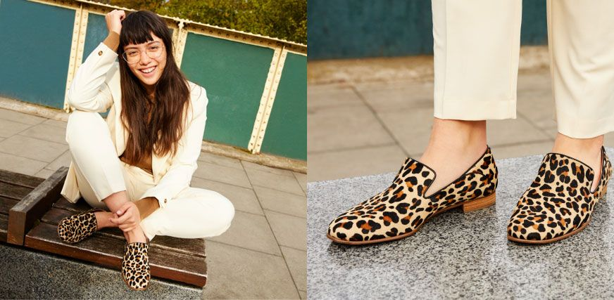 Shot of a female model wearing leopard print loafers with a matching cream co-ord outfit next to a close up shot of the same leopard print loafers