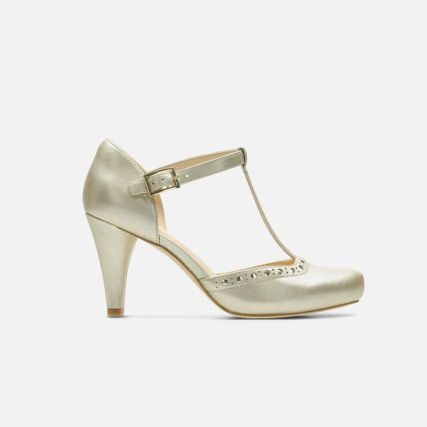 Champagne leather womens high heels with brogue detailing and an ankle strap