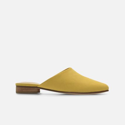 Yellow nubuck leather womens mule slip on shoes