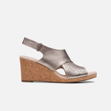 Pewter metallic leather womens sandals with a 7cm wedge heel