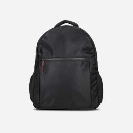 Water resistant black neoprene backpack featuring a padded laptop pocket and zip closures
