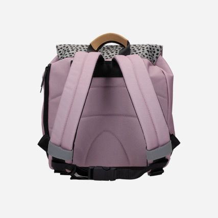 Back shot of pink synthetic backpack featuring a leopard spot rolltop, zips and magnetic fastenings