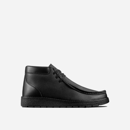Product shot of a boys black leather school boot with moccasin stitching on the toe