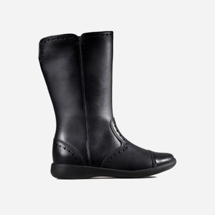 Product shot of a girls black leather school boot with brogue detailing and lip fastening