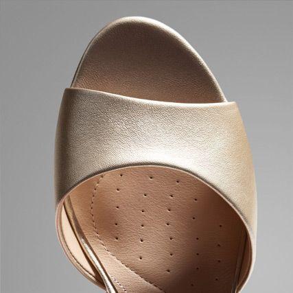 Birds eye view of metallic open toe wedding heel
