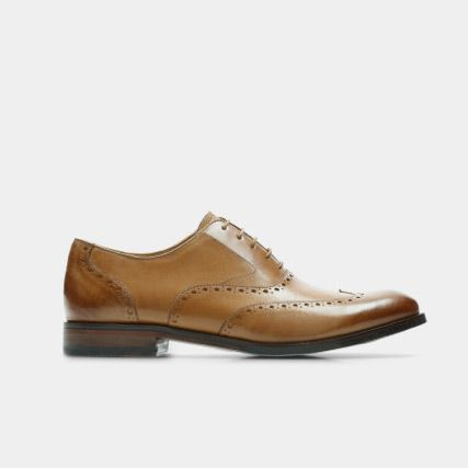 Mens brown leather brogue shoe with burnished detailing
