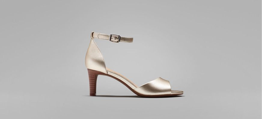 Metallic open toe wedding heels with ankle fastening