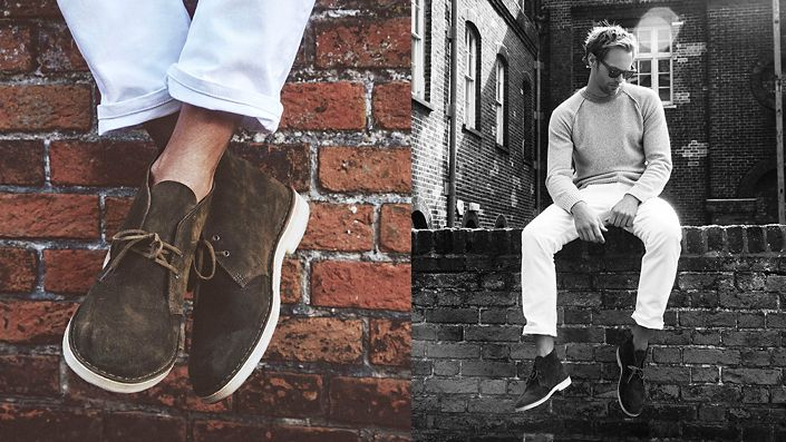 Alexander Skarsgaard wearing Desert Boot in dark olive