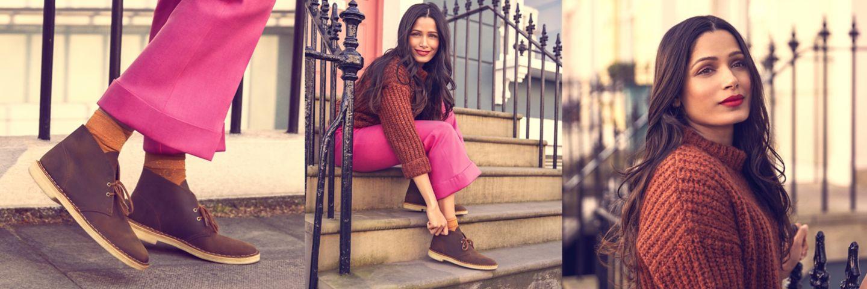 Freida Pinto wearing Desert Boot in color Beeswax