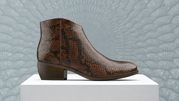 Womens West Lo Ankle Boot in dark tan snake print