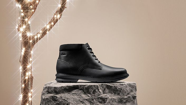 Mens boot- rendell peak in black leather