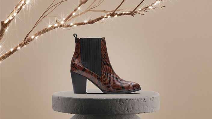 womens boot- West Lo in dark tan snake