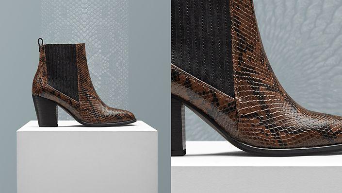 Womens heeled chelsea boot- west lo in dark tan snake