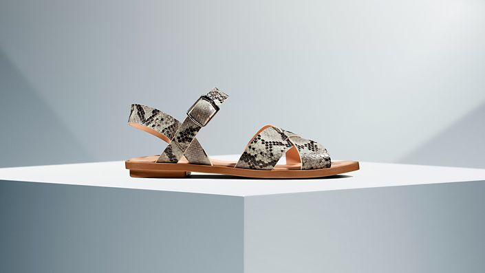 Willow Gild in Grey Snake Print- Womens Sandals