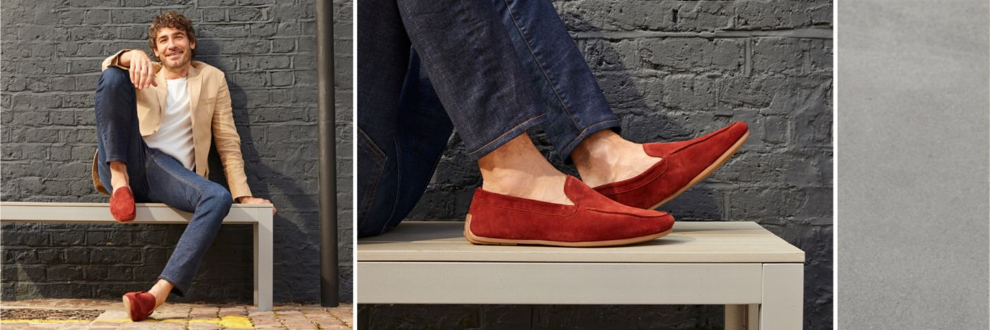 Mens Reazor plain loafers in red