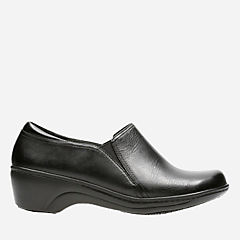 Grasp Chime Black Leather womens-wide-width
