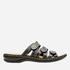 Leisa Cacti Q Black Leather womens-sandals-slides